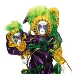 12in Tall x 5in Wide Mardi Gras Doll w/ Feathers