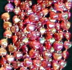 42in 12mm Red Clear AB Heart Beads