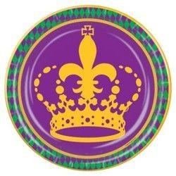 9in Fleur-De-Lis/ Mardi Gras Crown Paper Plates