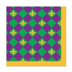 Mardi Gras Luncheon Napkins w/ Fleur-De-Lis Design 2-Ply