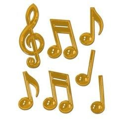 7 Piece 7in-13in-22in Gold Plastic Musical Notes