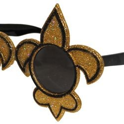 3 3/4in Tall x 6 1/4in Wide Glittered Black and Gold Fleur-De-Lis Sunglasses