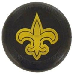 7in Black Frisbees w/ Fleur-De-Lis Hot Stamp Imprint