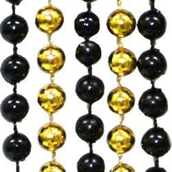 7mm 33in Round Black and Gold Mardi Gras Beads