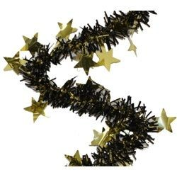 12ft Long x 3in Wide Black and Gold Metallic Star Garland