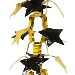 9ft Long x 12in Wide Black and Gold Metallic Star Chain Garland