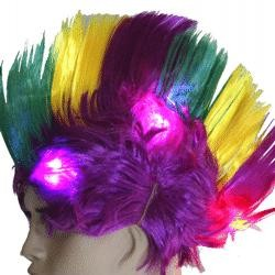 Purple Green Gold Mardi Gras Led Mohawk Wig