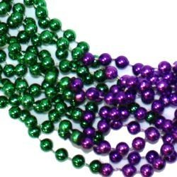 33in 7mm Round 4 Section Metallic Purple/ Green Beads