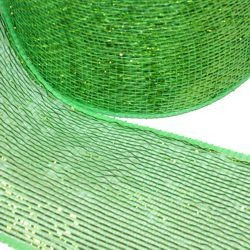 4in x 75ft Sinamay Metallic Green Mesh Ribbon/ Netting
