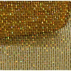4in x 75ft Sinamay Metallic 18 Carat Gold Color Mesh Ribbon/ Netting