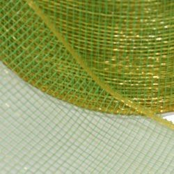 4in x 75ft Sinamay Metallic Lime Green Ribbon/ Mesh Tape