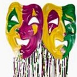 34in Wide x 8ft Tall Cardboard Mardi Gras Mask w/ Metallic Purple/ Green/ Gold Fringe Curtain