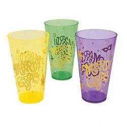 6in Tall x 3 1/2in Wide Mardi Gras Print 12oz Plastic Cups