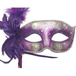 Light Purple and Silver Venetian Masquerade Mask on a Stick With a Large Ostrich Feather