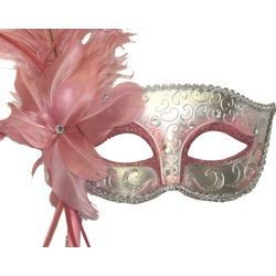 Light Pink and Silver Venetian Masquerade Mask on a Stick with a Large Ostrich Feather