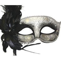 Black and Silver Venetian Masquerade Mask on a Stick with a Large Ostrich Feather