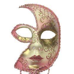 Paper Mache Venetian Masquerade Mask On A Stick With Unique Cutout Design
