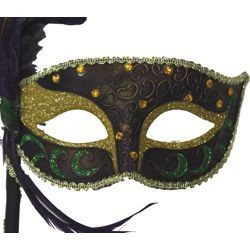 Feather Masks: Purple masquerade mask with ostrich feather