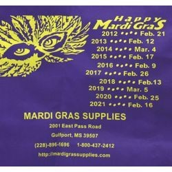 14in x 12in x 4in Shopping Bag w/Mardi Gras Dates