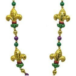 42in 12mm Purple/Green/Gold Necklace w/ Four 2 1/2 in Fleur-De-Lis Medallions
