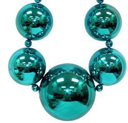 Tapered Metallic Teal / Turquoise Big Ball Bead