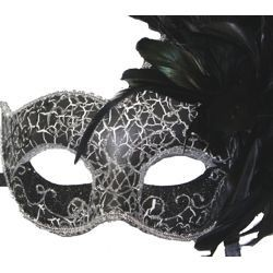 Feather Masks: Black and Silver Venetian Masquerade Mask