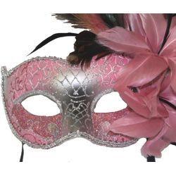 Feather Masks: Light Pink Venetian Masquerade Mask