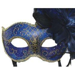 Feather Masks: Blue Venetian Masquerade Mask