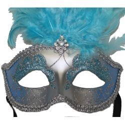 Sky Blue and Silver Paper Mache Venetian Masquerade Mask with Glitter Accents and with Sky Blue Large Ostrich Feathers