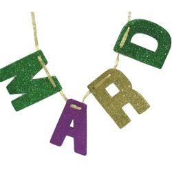 4in Tall x 6ft Long Glittered HAPPY MARDI GRAS BANNER in Purple/ Green/ Gold