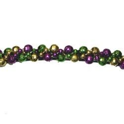 6in Tall x 1/2in Wide Mardi Gras Metallic Beaded Purple/ Green/ Gold Headband