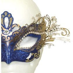 Blue and Gold Venetian Masquerade Mask with Gold Metal Laser Cut and Crystals
