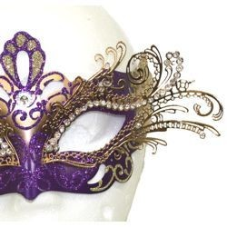 Venetian Masks: Purple and Gold Laser Cut Mask