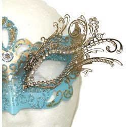 Venetian Masks: Light Blue and Gold Laser Cut Mask