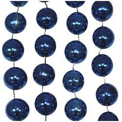 42in 14mm Round Royal Blue Metallic Beads