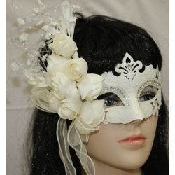 Venetian Masks: Elegant White Masquerade Mask with Lace and Flowers