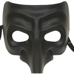 Long Nose Masks: Black Paper Mache Masquerade Mask