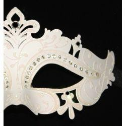 Venetian Masks: White Masquerade Eye Mask with Rhinestones