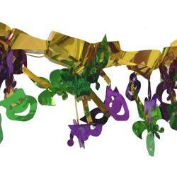 20in x 35in Metallic Foil Mardi Gras Burst Ceiling Mobile
