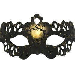 Black, Gold, Grey, or Orange Venetian Masquerade Mask With Glittery Scrollwork