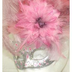 Venetian Masks: Light Pink Mask with Ostrich and Capon Feathers