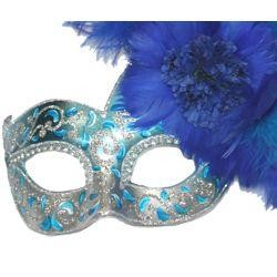 Turquoise Paper Mache Venetian Masquerade Mask With Ostrich and Capon Feathers