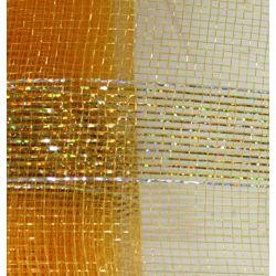 21in x 30ft Gold Mesh Ribbon w/ Metallic Gold Bands