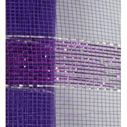21in x 30ft Purple Mesh Ribbon w/ Metallic Purple Bands