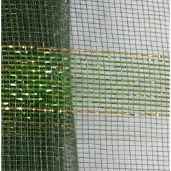 21in x 30ft Dark Green Mesh Ribbon w/ Metallic Green Bands