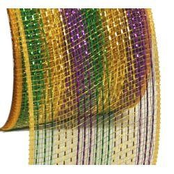 4in x 75ft Sinamay Metallic Purple/ Green/ Gold Multi Stripe Mesh Ribbon/ Netting