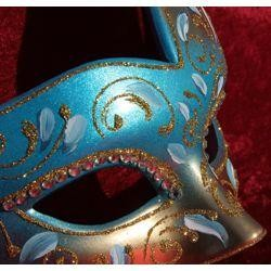 Assorted Venetian Hand Painted Paper Mache Masquerade Mask with Gold Glittery Scrollwork and Rhinestones