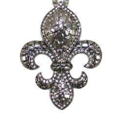 12in Long x 2in Wide Silver Chain w/ Fleur-De-Lis w/ Rhinestones