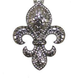 12in Long x 2in Wide Silver Chain w/ Fleur-De-Lis w/ Rhinestones
