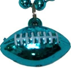7mm 33in Teal / Turquoise Beads with Football Medallion